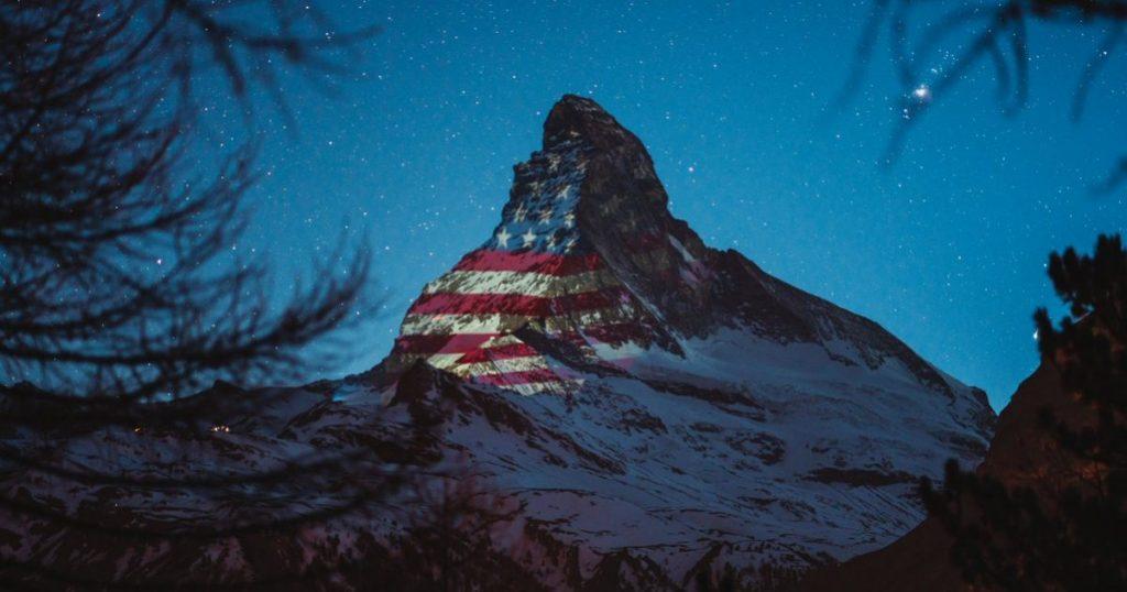 Matterhorn Mountain Flashes United States Flag