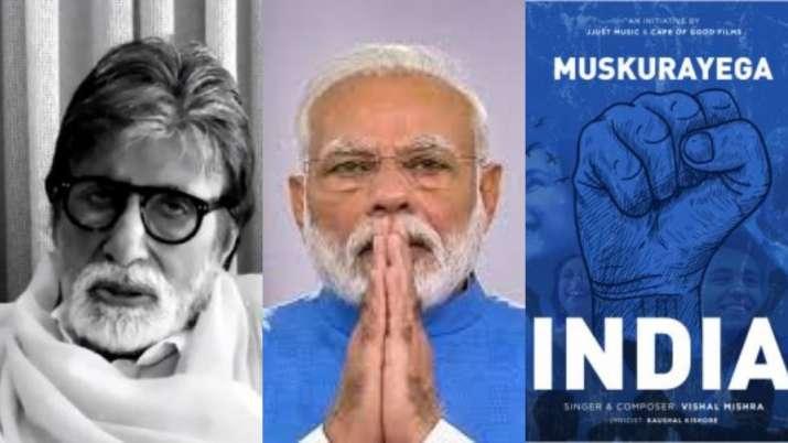Poster of the Muskurayega India -- Narendra Modi and Amitabh Bachchan